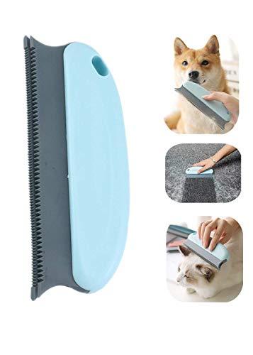 N-S Cepillo de Pelo para Mascotas Perro Gato Aseo Deshedding Tool Cleaner Masaje Peine Relajante Cepillo de Pelo para Mascotas para Mantas/Ropa/Coche/CamaAlfombra/Sofá/Muebles (Azul)