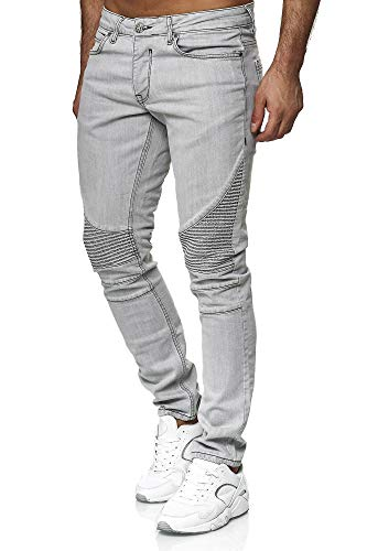 Tazzio heren denim biker-jeans in Destroyed Look Slim Fit 16517