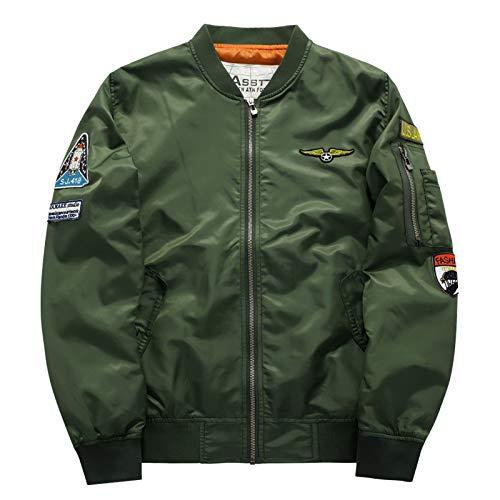 JYKING Herren Jacke Übergangsjacke Frühjahr Herbst Militär Luftwaffe Bomber Jacke Freizeit Outdoor Mens Military Jacket Coat Armee grün M