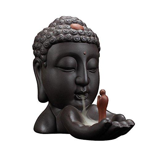 Rückfluss-Weihrauch-Brenner Kreative Keramik Buddha Räucherstäbchenhalter Buddhistische Räuchergefäß mit Aromatherapie Räucherstäbchen Rückfluss Weihrauch + 70 Stücke Räucherkegel (Duftfrei)