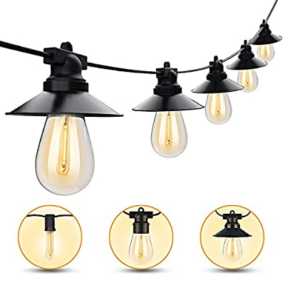LED Outdoor String Lights 48FT Waterproof Outdoor String Lights with 15 Plastic Shatterproof String Lights ETL Approved Led Heavy-Duty String Lights for Backyard Patio Porch