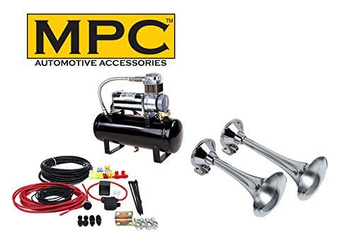 MPC Train Air Horn Kit; Two Fullsize Trumpets 13/15', Heavy Duty 150 PSI Compressor