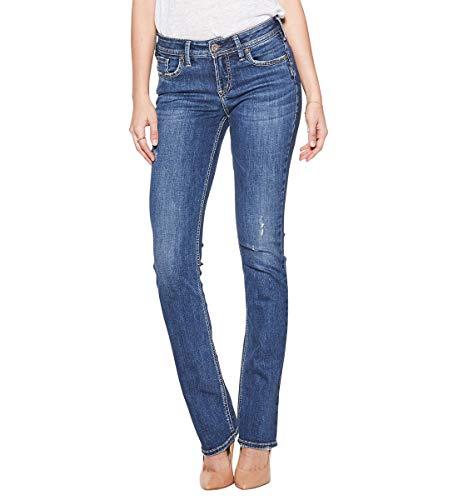 Silver Jeans Co. Women's Elyse Curvy Mid Rise Slim Fit Bootcut Jean, Medium Dark Indigo, 31W X 31L