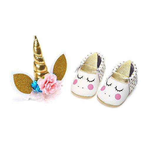 Unicorno Scarpe Neonata con Cerchietto Battesimo Set Regalo, Bambina Anti Scivolo Mary Jane Scarpe per Neonata (0-6 Mesi, A)