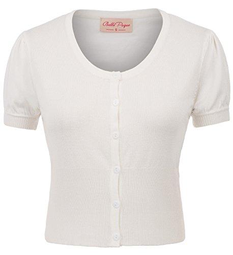 Belle Poque Womens Bolero Jackets for Dresses Cropped Shrug S BP707-2 White