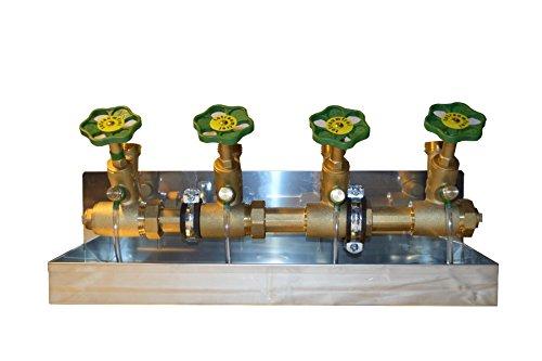 Schlösser Kompakt Verteiler DN25 - 4 Abgänge DN20-Wasserverteiler inkl V2ARinne,. 2 x Rohrschelle und 2 Stockschraube