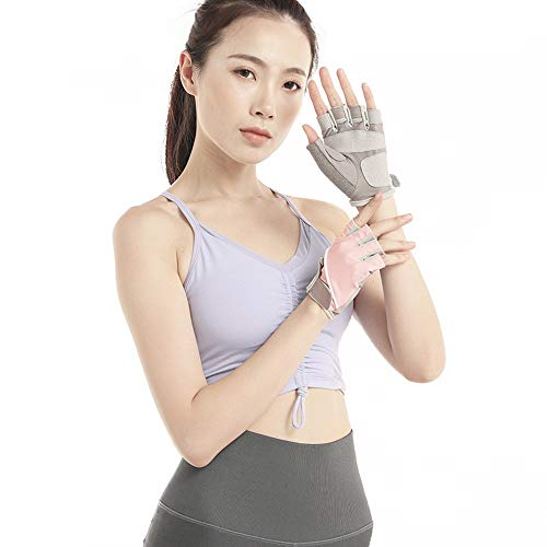 JF-Protective Gear-1118 Schutzbekleidung Fingerlose Mountainbike-Mesh-Handschuhe - for Männer, Frauen, Jungen mit vollem Daumen, halber Finger, perfekt for den Sport JFCUICAN (Color : Rosa, Size : S)