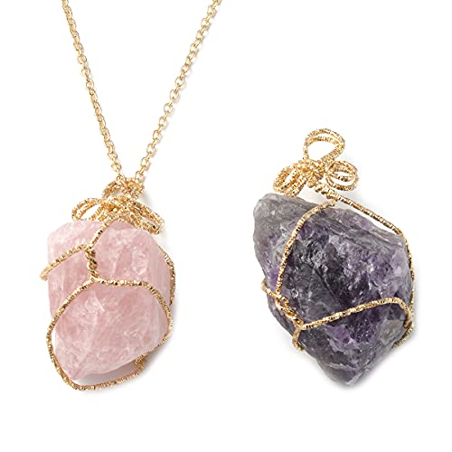 Shop LC Amethyst and Galilea Rose Quartz Pendant with Gold Plated Necklace Delicate Jewelry Unique Birthday Gifts for Women 24' Set of 2