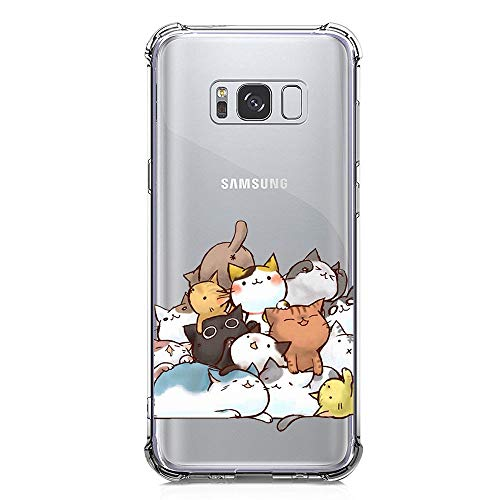 Galaxy S8 Case Ultra Crystal Clear with Cute Cat Design Shockproof Bumper Protective Case for Samsung Galaxy S8 Kitty Flexible Silicone Rubber Slim Fit Funny Cell Phone Back Cover