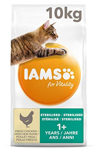 Iams for Vitality Sterilised alimento secco per gatti Pollo Fresco per Gatti sterilizzati - 10 Kg
