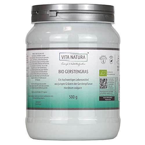 Vita Natura Gerstengras-Pulver Bio, aus Deutschland, umweltfreundliche Verpackung, 1er Pack (1 x 500 g)