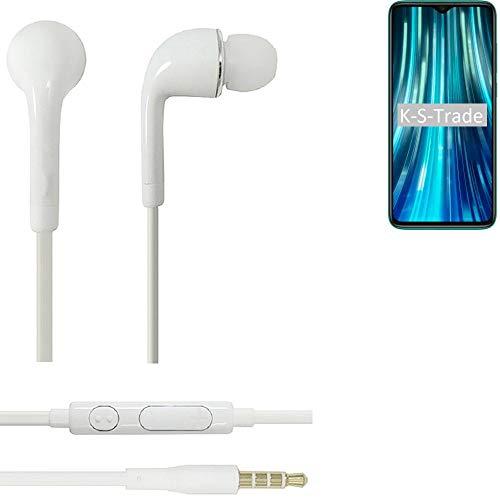 K-S-Trade Auriculares Headphone Compatible con Xiaomi Redmi Note 8 Pro con Micrófono Y Control De Volumen Blanco Jack De 3.5 Mm Tapones para Los Oídos Headset Espárragos Headphone Estéreo