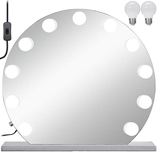 VEVOR Schminkspiegel Weiß 700 x 700 mm Ohne Grenzen Kosmetikspiegel Beleuchtet mit 12 LE einstellbar Schminkspiegel Rund mit LED Beleuchtung, Make-up Spiegel für Zuhause Wohnzimmer und Unterwegs