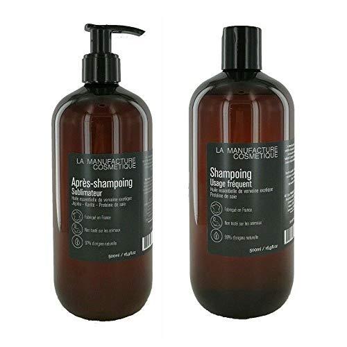La Manufacture Cosmétiques Shampoing Quotidien 500 ml et après Shampoing Sublimateur 500 ml 1000 ml