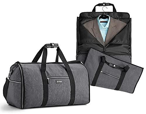 Borsone porta abiti, borsa porta abiti pieghevole in nylon, borsa da viaggio multifunzionale-grigio chiaro_24 pollici