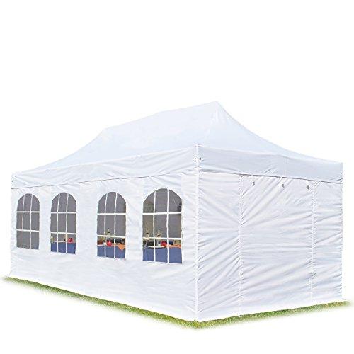 TOOLPORT Faltpavillon Faltzelt Premium 3x6m - mit Fenstern ALU Pavillon Partyzelt Dach 100% WASSERDICHT weiß
