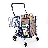 "Seville Classics Folding Rolling Steel Wire Basket Trolley Grocery Shopping Cart, 18.7"" W"
