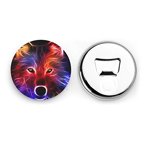 Wolf 3D Round Bottle Openers/Fridge Magnets Stainless Steel Corkscrew Magnetic Sticker 2 Pcs