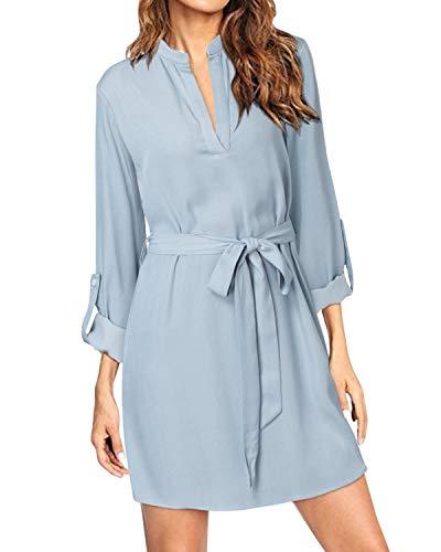 kenoce Camisa Larga para Mujer Tops Casual con Cuello en V Manga enrollada Mini Vestido Holgado Pullover Blusa Larga de Gran tamaño Azul Charo XL
