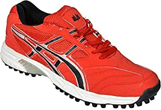 Vijayanti Dragon Rubber Spikes Cricket/Hockey Shoes for Men (Red)
