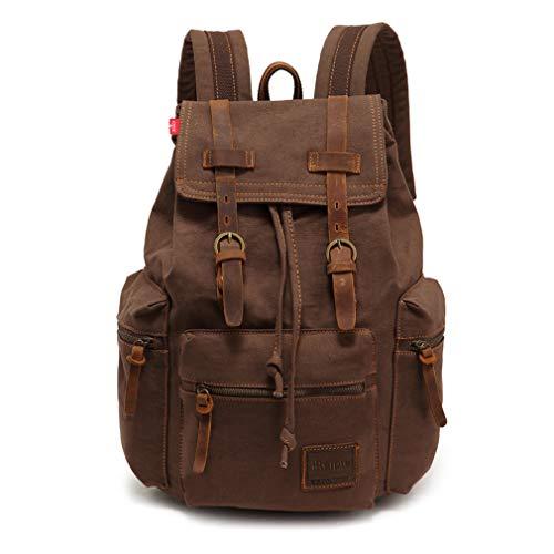Retro Segeltuch Rucksack Canvas Rucksack Vintage Rucksack Echtleder Laptop Daypack Backpack Schulrucksack Reisetasche Lederrucksack Wasserdicht Dauerhaft Schulterpackung für Herren Damen Junge