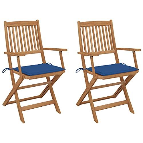 vidaXL 2X Akazienholz Massiv Gartenstuhl Klappbar mit Kissen Armlehnen Klappstuhl Stuhl Stühle Klappstühle Gartenstühle Holzstuhl Gartenmöbel