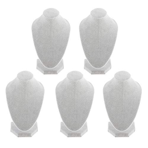 kowaku Lotes 5 Soporte de Figura de Joyería Colgante de Exhibición de Busto de Collar de Terciopelo Blanco