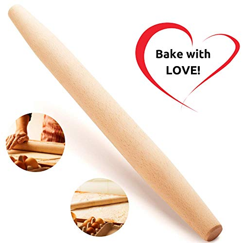 French Wooden Rolling Pin 18' x 1.55' for Baking Pizza Pastry Dough, Pie Crust & Cookie - Kitchen Cuisine Utensil Smooth Tools Gift Ideas for Professional Bakers, Restaurants, Grandmas - MR. WOODWARE