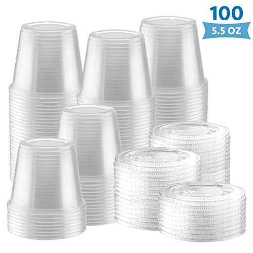 100-Pack of 5.5 Ounce Clear Plastic Jello Shot Cup Containers with Snap on Leak-Proof Lids –Jello Shooter Shot Cups -FDA-Approved -Compact Food Storage for Portion Control, 5 oz,Sauces, Liquid, Dips