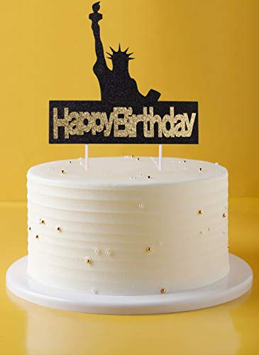 TwoMoon Birthday cake topper Happy birthday plugin, goddess of torch, goddess of liberty, brings you birthday wishes, gold and black glitter, cake baking decorations, birthday party logo