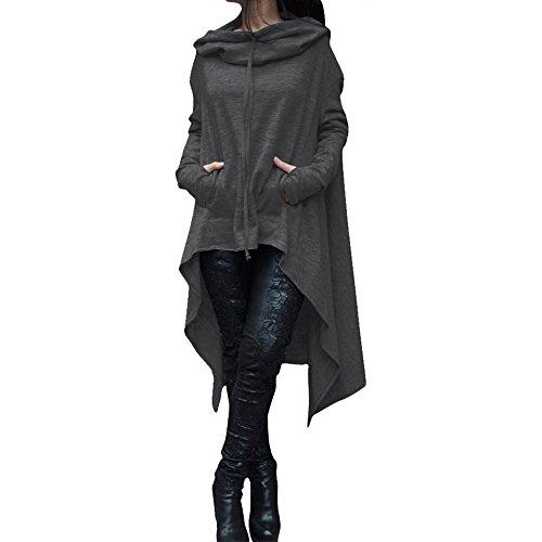 Plus Size Hoodies,Women Casual Loose Swing Long Hooded Jumper Solid Asymmetric Sweater Tops Dark Gray