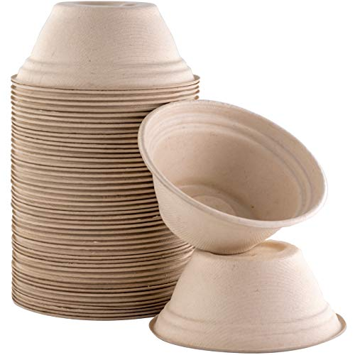 Restaurant-Grade, Biodegradable 8Oz Bowls Bulk 50Pk. Great for Ice Cream, Chili or Soup. Disposable, Compostable Wheatstraw Bowls are Allergen-Free, Leakproof and Microwave Safe for Hot or Cold Use
