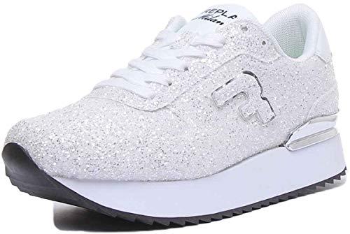 REPLAY Halen White Damenschuh Glitter Weiß, Weiß - Bianco - Größe: 37 EU