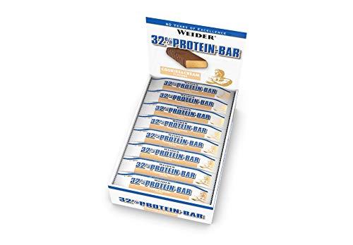 WEIDER 32% Protein Bar, Cookies & Cream, 24 leckere Eiweißriegel mit zartem Schokoladenüberzug