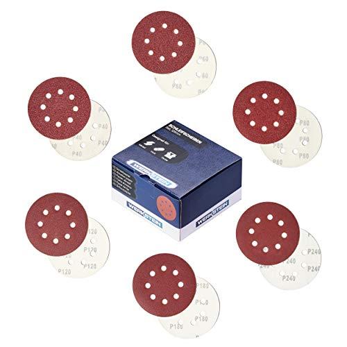 WERKSTEIN 60 Stück Schleifpapier 125mm - Set mit je 10x P40/60/80/120/180/240 Exzenterschleifer Schleifpapier, 8 Löcher - Für Metall, Holz - NEU