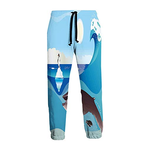 Men's Sweatpants,North Pole Graphic Landscape with Penguin Wave and Sun Kid Room Decor,L