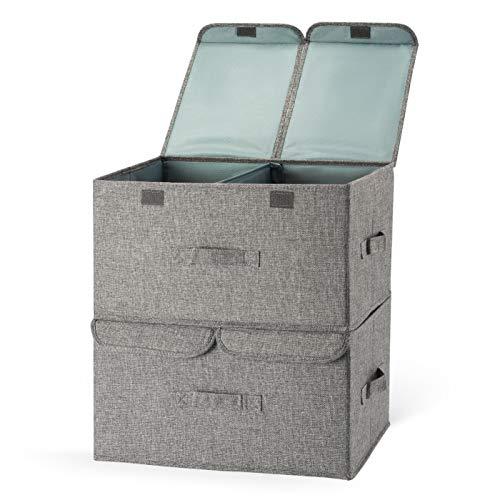 Aufbewahrungsbox mit Deckel , 2er Set Faltbare Stoffboxen mit Griff , Würfel Aufbewahrungskiste Faltbox für Kleidung, Bücher, Kosmetik, Spielzeug- Grau