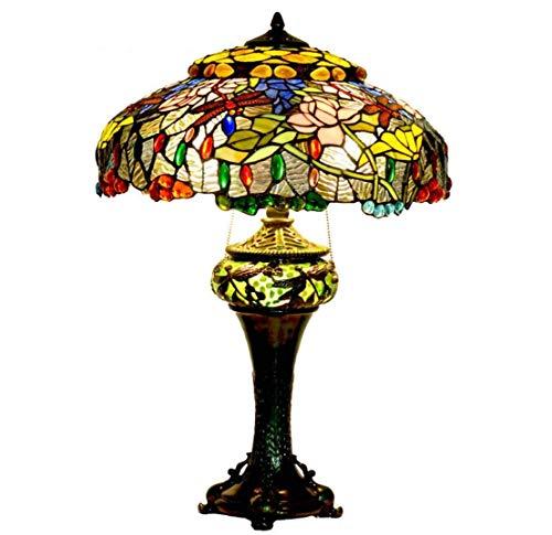 Lámpara De Mesa De Estilo Tiffany Lámpara De Cristal De Colores Base De Resina Dragonfly Hecho A Mano Lámpara De Mesa Decorativa