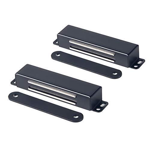 Mousike loquet de porte magnétique robuste 40KG aimants de porte en acier inoxydable avec magnétique puissant pour loquet de porte d'armoire de garde-robe de placard de cuisine(2 pièces noires)