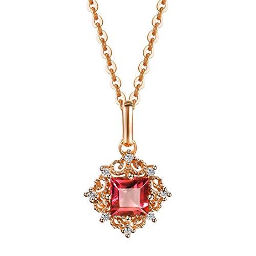 Collana Donna in Oro Rosa 18 ct con 0.315 ct Tormalina e 0.019 ct Veri Diamante Pendenti - Lunghezza: 45 cm