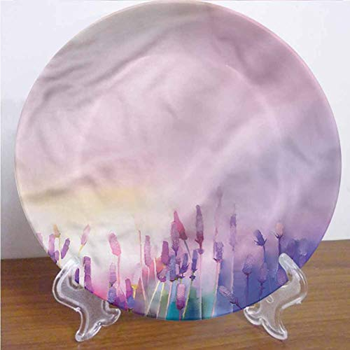 Channing Southey 8 Inch Flower Customized Dinner Plate Lavender Violet Flowers Round Porcelain Ceramic Plate Decor Accessory for Dining Table Tabletop Party Kitchen Home Decor