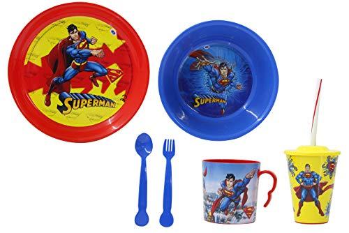 Jamara 410132 Superman - Vajilla Infantil (8 Piezas, Apto para lavavajillas, Plato, Taza, Cuenco para Cereales, Tenedor, Cuchara, Vaso con Tapa y Pajita), Color Rojo