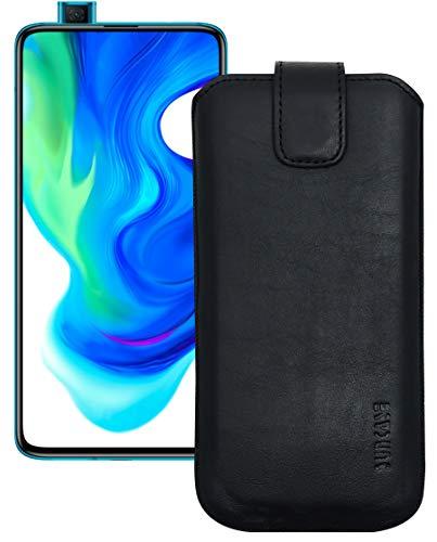 Suncase Etui Tasche kompatibel mit Xiaomi Poco F2 Pro Hülle mit ZUSÄTZLICHER Hülle/Schale/Bumper Lasche mit Rückzugfunktion Handytasche Ledertasche Schutzhülle in schwarz