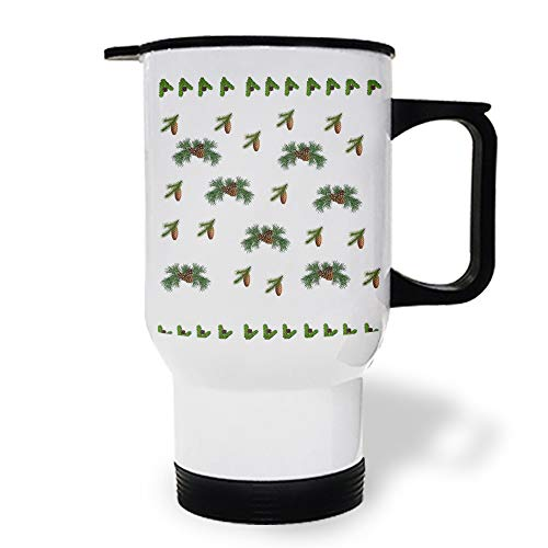 15 OZ Stainless Steel Car Cup with Handle, Christmas Filbert Pine Cone Travel Coffee Mug Cup Heated Thermos for Heating Water, Coffee, Tea Milk, Gift