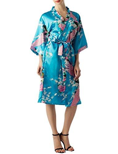 iB-iP Mujer Pavo Real y Ciruelo florecen de Estilo Kimono japonés Midi Bata, Tamaño: S, Turquesa