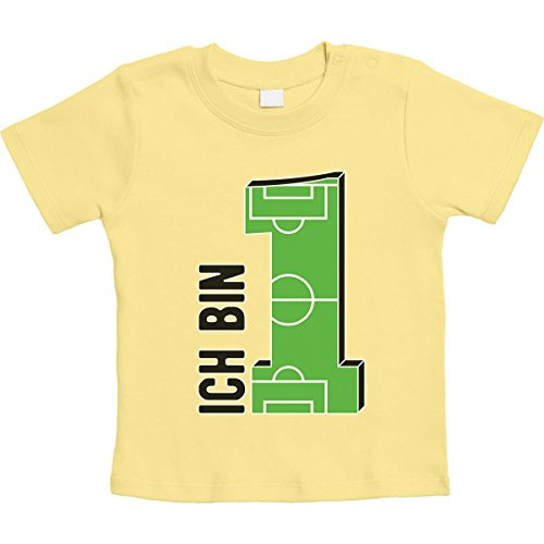 Geschenke Baby 1 Jahr Geburtstag Junge - Fußball Unisex Baby Thirt 12-18 Monate Gelb