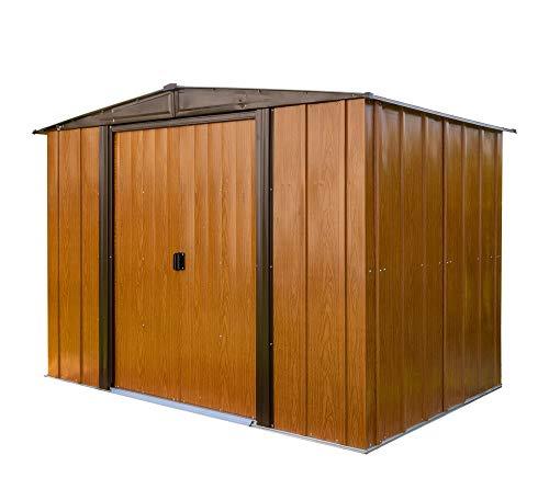 Spacemaker Gerätehaus Gartenhaus Geräteschuppen Woodlake 8x6 Holzoptik, 253x181 cm