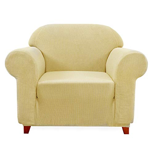 subrtex 1-Piece Stretch Sofa Cover Spandex Jacquard Fabric Slipcovers for Couch, Armchair, Machine Washable (Chair, Light Yellow)