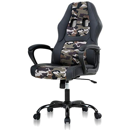 Office Chair Gaming Desk Racing Gaming Chair, PC Gaming Ergonomic Racing Heavy Duty Office Video Game Chair, PU Leather Racing Chair for Home Office Computer Gaming Chairs Video Game Chairs - Camo