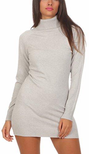 Fashion4Young 11392 Damen Feinstrick Pullover Strickkleid Strickpullover Rollkragen Minikleid Rollkragenpullover (L/XL=38/40, hellgrau)